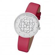 Regent Damen Armbanduhr Analog BA-602 Quarz-Uhr Leder rot URBA602