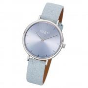 Regent Damen Armbanduhr Analog F-1136 Quarz-Uhr Leder hellblau URF1136