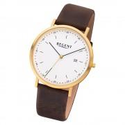 Regent Herren Armbanduhr Analog F-1143 Quarz-Uhr Leder braun URF1143