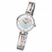 Regent Damen Armbanduhr Analog F-1147 Quarz-Uhr Metall silber rosegold URF1147