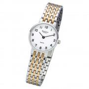 Regent Damen Armbanduhr Analog F-1158 Quarz-Uhr Metall silber gold URF1158