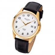 Regent Herren Armbanduhr Analog F-1226 Quarz-Uhr Leder schwarz URF1226