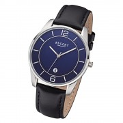 Regent Herren Armbanduhr Analog F-1235 Quarz-Uhr Leder schwarz URF1235
