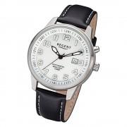 Regent Herren Armbanduhr Analog F-1237 Quarz-Uhr Leder schwarz URF1237