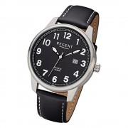 Regent Herren Armbanduhr Analog F-1238 Quarz-Uhr Leder schwarz URF1238