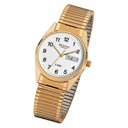 Regent Herren-Uhr Mineralglas Quarz Edelstahl Gold ionenplattiert URF293
