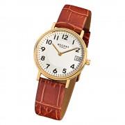 Regent Damen-Armbanduhr F-328 Quarz-Uhr Leder-Armband braun URF328