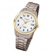 Regent Herren-Armbanduhr Mineralglas Quarz Titan silber grau gold URF430