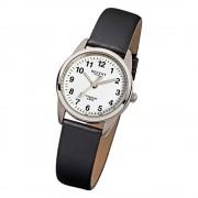 Regent Damen-Armbanduhr Titan Quarz-Uhr klassisch Leder schwarz weiß URF441