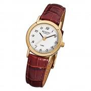 Regent Damen-Armbanduhr F-575 Quarz-Uhr Leder-Armband braun URF575