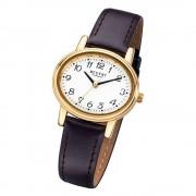 Regent Damen-Armbanduhr Mineralglas Quarz Leder braun URF577