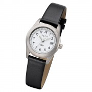 Regent Damen Armbanduhr Analog F-660 Quarz-Uhr Leder schwarz URF660