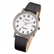 Regent Herren-Armbanduhr F-690 Titan-Uhr Leder-Armband schwarz URF690
