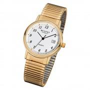 Regent Herren-Armbanduhr F-707 Quarz-Uhr Stahl-Armband gold URF707