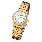 Regent Damen-Armbanduhr F-717 Quarz-Uhr Stahl-Armband gold URF717