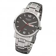 Regent Herren-Armbanduhr F-781 Quarz-Uhr Stahl-Armband silber URF781