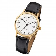 Regent Herren-Armbanduhr F-790 Quarz-Uhr Leder-Armband schwarz URF790