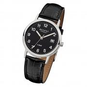 Regent Herren-Armbanduhr F-792 Quarz-Uhr Leder-Armband schwarz URF792