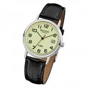 Regent Herren-Armbanduhr F-793 Quarz-Uhr Leder-Armband schwarz URF793