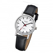 Regent Damen-Armbanduhr Edelstahl Leder schwarz Mineralglas Quarz URF824