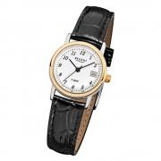 Regent Damen-Armbanduhr F-828 Quarz-Uhr Leder-Armband schwarz URF828