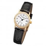 Regent Damen-Armbanduhr F-829 Quarz-Uhr Leder-Armband schwarz URF829