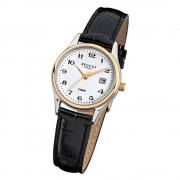 Regent Damen-Armbanduhr F-834 Quarz-Uhr Leder-Armband schwarz URF834