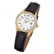 Regent Damen-Armbanduhr F-835 Quarz-Uhr Leder-Armband schwarz URF835