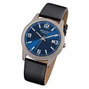 Regent Herren-Armbanduhr Mineralglas Quarz Leder schwarz URF844