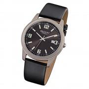 Regent Herren-Armbanduhr - Titan-Uhren - Quarz Leder schwarz URF845