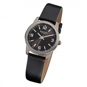 Regent Damen-Armbanduhr F-868 Titan-Uhr Leder-Armband schwarz URF868
