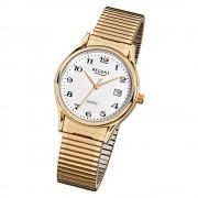Regent Herren-Armbanduhr F-873 Quarz-Uhr Stahl-Armband gold URF873