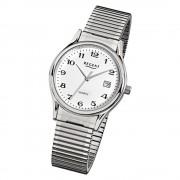 Regent Herren-Armbanduhr F-874 Quarz-Uhr Stahl-Armband silber URF874