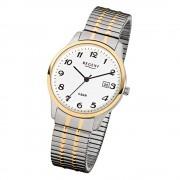 Regent Herren-Armbanduhr F-877 Quarz-Uhr Stahl-Armband silber gold URF877