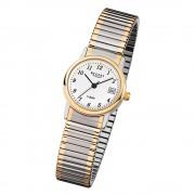 Regent Damen, Herren-Armbanduhr F-889 Quarz-Uhr Stahl-Armband silber gold URF889