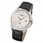 Regent Herren-Armbanduhr F-915 Quarz-Uhr Leder-Armband schwarz URF915