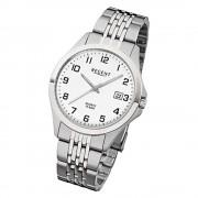 Regent Herren-Armbanduhr F-916 Quarz-Uhr Stahl-Armband silber grau URF916