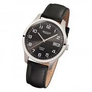 Regent Herren-Armbanduhr F-932 Quarz-Uhr Leder-Armband schwarz URF932