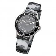 Regent Kinder-Armbanduhr Quarz Textil grau schwarz Jungen Uhr URF941