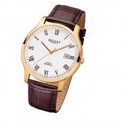 Regent Herren-Armbanduhr F-961 Quarz-Uhr Leder-Armband braun URF961