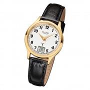 Regent Damen-Armbanduhr FR-194 Funkuhr Leder-Armband schwarz URFR194