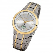 Regent Herren-Armbanduhr FR-239 Funkuhr Titan Gold-Armband grau gold URFR239