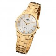 Regent Damen Armbanduhr Analog GM-1415 Quarz-Uhr Metall gold URGM1415