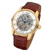 Regent Herren Armbanduhr Analog GM-1434 Automatik-Uhr Leder braun URGM1434