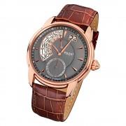 Regent Herren Armbanduhr Analog GM-1437 Quarz-Uhr Leder braun URGM1437