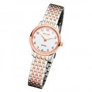 Regent Damen Armbanduhr Analog GM-1460 Quarz-Uhr Metall silber rosegold URGM1460