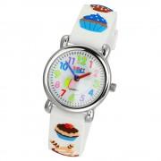 Tee-Wee Kinderuhr weiß Cupcakes 3D Kautschukband Kinder Uhren UW433W