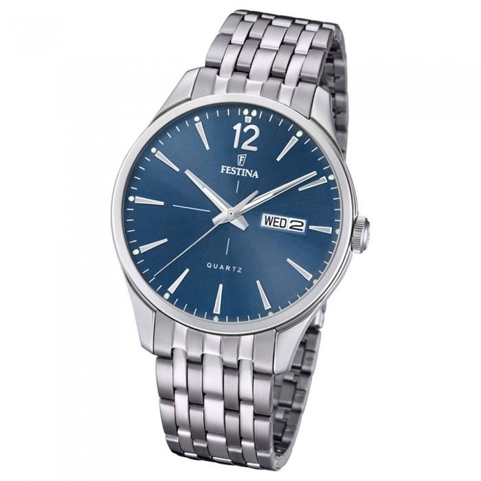 F202043 Silber Retro Uhr Quarz Armband Uf202043 Edelstahl Herren Festina OZPnw0X8Nk
