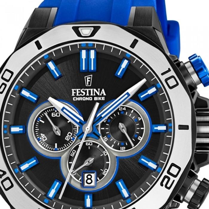 F204505 Uf204505 Quarz Blau Armbanduhr Festina Silikon Bike Chrono Herren jSzGULpqMV