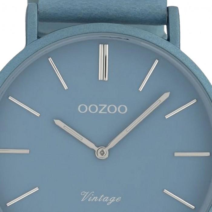 Oozoo Damen Armbanduhr Ultra Slim C9877 Quarzwerk Leder hellblau UOC9877